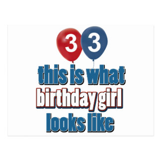 33 year old birthday girl designs postcard