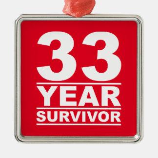 33 year survivor metal ornament