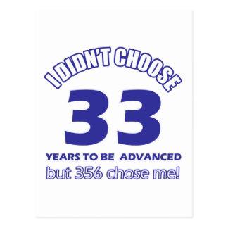 33 years advancement postcard