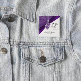 33rd / 6th Wedding Anniversary Design Pinback Button