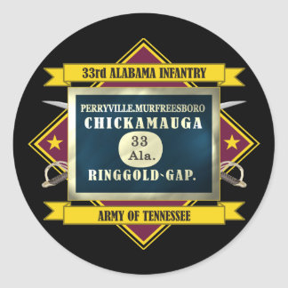 33rd Alabama Infantry (Flags 3) Classic Round Sticker