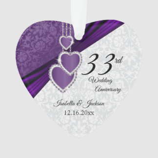 33rd Amethyst Damask Wedding Anniversary Keepsake Ornament