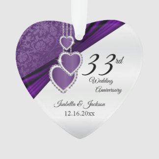 33rd Amethyst Purple Wedding Anniversary Keepsake Ornament