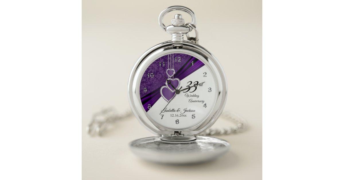 33rd Wedding Anniversary Gifts: 33rd Amethyst Wedding Anniversary Design Pocket Watch