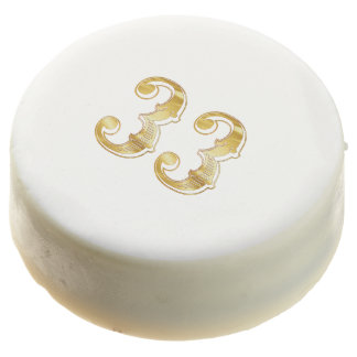 33rd Anniversary 33 Birthday Gold White Cookie