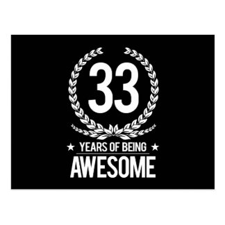 33rd Birthday (33 Years Of Being Awesome) Postcard