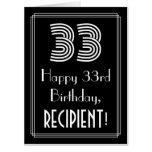 "[ Thumbnail: 33rd Birthday — Art Deco Inspired Look ""33"" + Name Card ]"