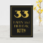 "[ Thumbnail: 33rd Birthday ~ Art Deco Inspired Look ""33"" & Name Card ]"