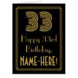 "[ Thumbnail: 33rd Birthday: Art Deco Inspired Look ""33"" + Name Card ]"
