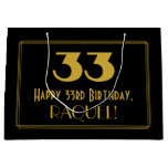 "[ Thumbnail: 33rd Birthday — Art Deco Inspired Look ""33"" & Name Gift Bag ]"