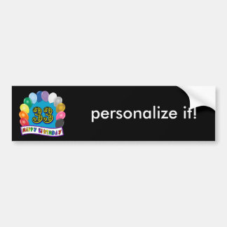 33rd Birthday Balloons Design Car Bumper Sticker