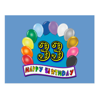 33rd Birthday Balloons Design Postcard