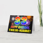 [ Thumbnail: 33rd Birthday: Bold, Fun, Fireworks, Rainbow 33 Card ]