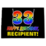 [ Thumbnail: 33rd Birthday: Bold, Fun, Simple, Rainbow 33 Gift Bag ]