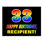 [ Thumbnail: 33rd Birthday: Bold, Fun, Simple, Rainbow 33 Postcard ]