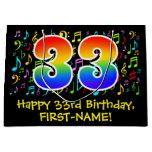 [ Thumbnail: 33rd Birthday - Colorful Music Symbols, Rainbow 33 Gift Bag ]