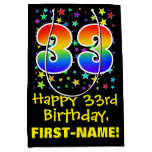 [ Thumbnail: 33rd Birthday: Colorful Stars Pattern & Rainbow 33 Gift Bag ]