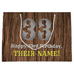 [ Thumbnail: 33rd Birthday: Country Western Inspired Look, Name Gift Bag ]