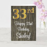 [ Thumbnail: 33rd Birthday: Elegant Faux Gold Look #, Faux Wood Card ]