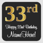 [ Thumbnail: 33rd Birthday – Elegant Luxurious Faux Gold Look # Sticker ]
