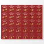 [ Thumbnail: 33rd Birthday: Elegant, Red, Faux Gold Look Wrapping Paper ]
