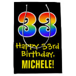 "[ Thumbnail: 33rd Birthday: Fun, Bold, Colorful, Rainbow ""33"" Gift Bag ]"