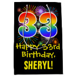 [ Thumbnail: 33rd Birthday: Fun Fireworks Pattern + Rainbow 33 Gift Bag ]