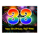 [ Thumbnail: 33rd Birthday – Fun Fireworks Pattern + Rainbow 33 Postcard ]