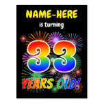 "[ Thumbnail: 33rd Birthday - Fun Fireworks, Rainbow Look ""33"" Postcard ]"