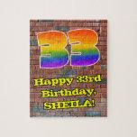 [ Thumbnail: 33rd Birthday: Fun Graffiti-Inspired Rainbow 33 Jigsaw Puzzle ]