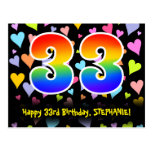 [ Thumbnail: 33rd Birthday: Fun Hearts Pattern, Rainbow 33 Postcard ]