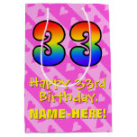 [ Thumbnail: 33rd Birthday: Fun Pink Hearts Stripes; Rainbow 33 Gift Bag ]