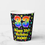 [ Thumbnail: 33rd Birthday: Fun Stars Pattern and Rainbow 33 ]