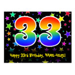 [ Thumbnail: 33rd Birthday: Fun Stars Pattern, Rainbow 33, Name Postcard ]