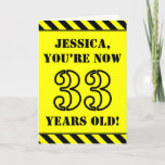 [ Thumbnail: 33rd Birthday: Fun Stencil Style Text, Custom Name Card ]