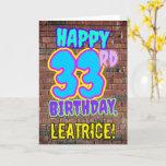 [ Thumbnail: 33rd Birthday - Fun, Urban Graffiti Inspired Look Card ]