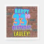 [ Thumbnail: 33rd Birthday ~ Fun, Urban Graffiti Inspired Look Napkins ]