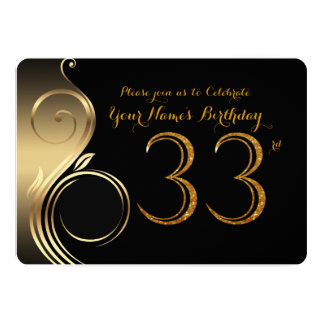33rd,Birthday Invitation,Number Glitter Gold,Photo Card