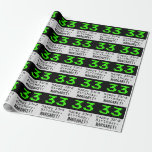 "[ Thumbnail: 33rd Birthday - Nerdy / Geeky Style ""33"" and Name Wrapping Paper ]"