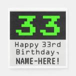 """[ Thumbnail: 33rd Birthday - Nerdy / Geeky Style """"33"""" & Name Napkins ]"""
