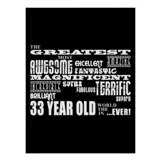33rd Birthday Party Greatest Thirty Three Year Old Poster