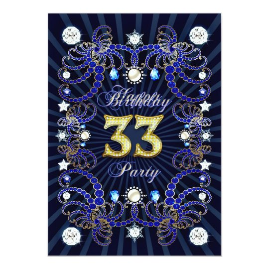 33rd birthday party invite with masses of jewels