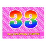 [ Thumbnail: 33rd Birthday: Pink Stripes & Hearts, Rainbow 33 Postcard ]