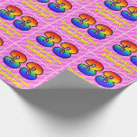 [ Thumbnail: 33rd Birthday: Pink Stripes & Hearts, Rainbow # 33 Wrapping Paper ]