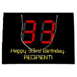 "[ Thumbnail: 33rd Birthday: Red Digital Clock Style ""33"" + Name Gift Bag ]"