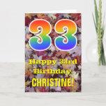 "[ Thumbnail: 33rd Birthday; Rustic Autumn Leaves; Rainbow ""33"" Card ]"