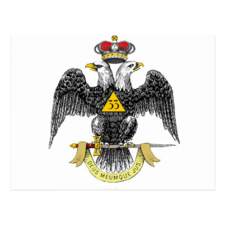 33rd Degree Scottish Rite Black Eagle Postcard