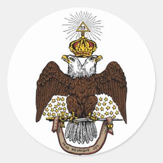 33rd Degree Scottish Rite Brown Eagle Classic Round Sticker