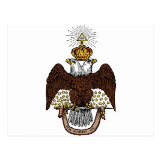33rd Degree Scottish Rite Brown Eagle Postcard