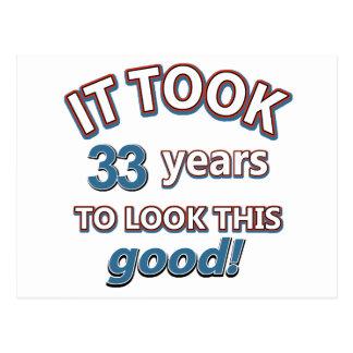 33rd year birthday designs postcard
